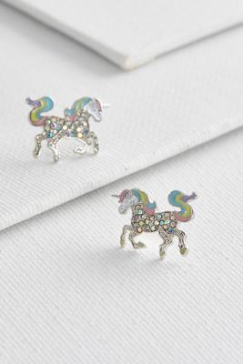 shimmering unicorn studs