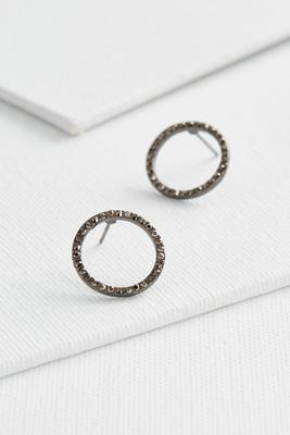 pave open circle studs