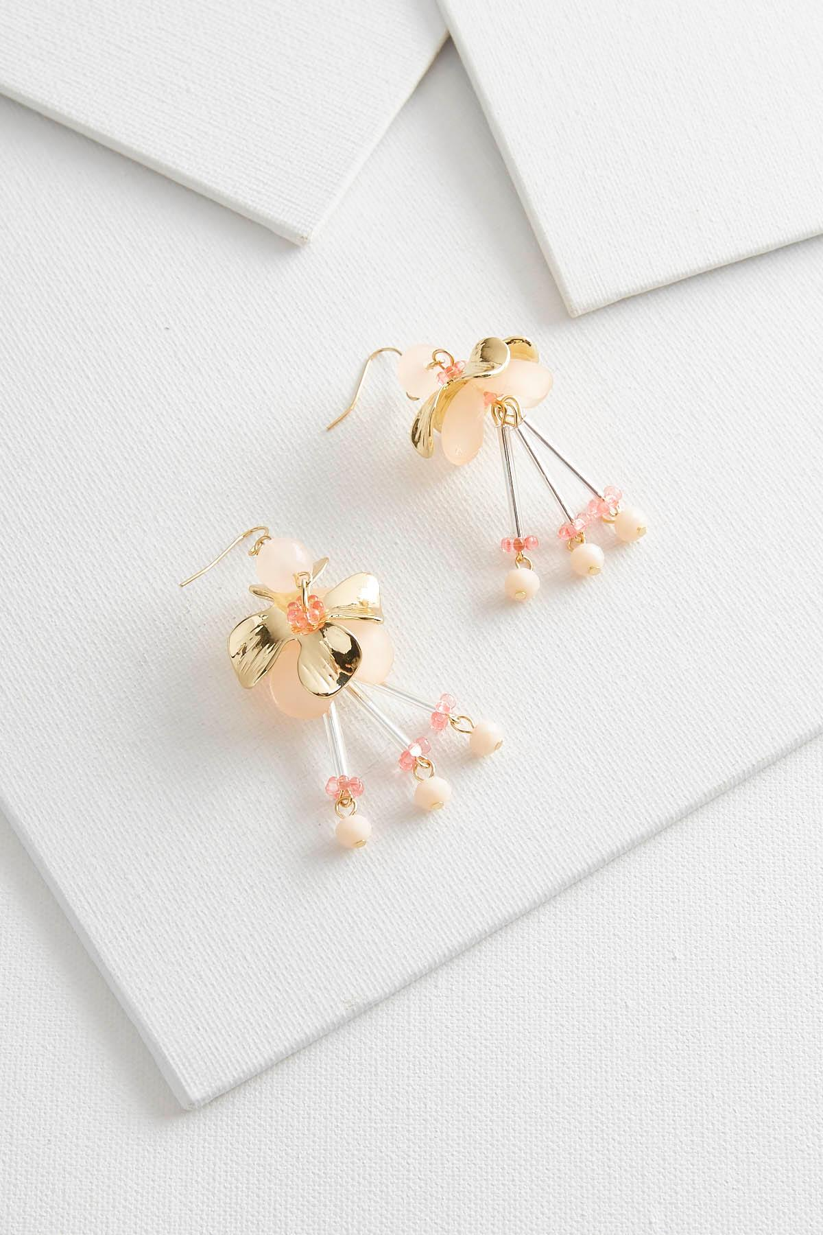 Dangling Beaded Floral Earrings