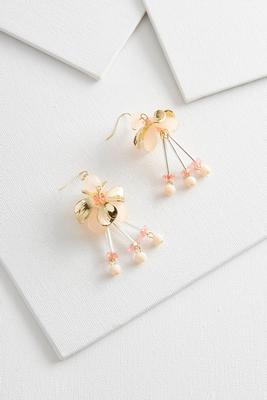 dangling beaded floral earrings