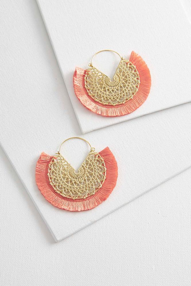 Medallion Fringe Hoop Earrings