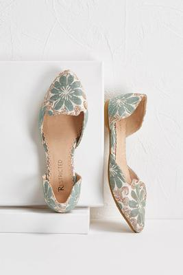 blue floral tapestry flats