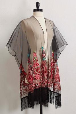 sheer embroidered mesh kimono s