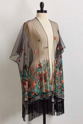sheer floral embroidered mesh kimono