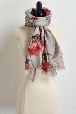 metallic floral oblong scarf