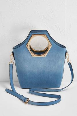 denim porthole bag
