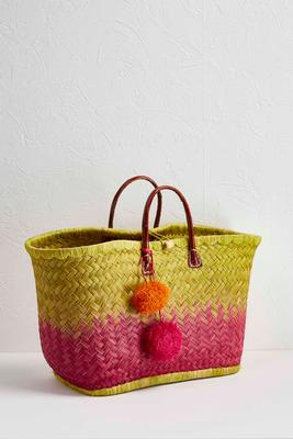dip dyed straw tote