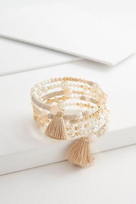 beaded pearl coil bracelet