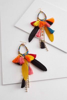 feather tassel statement earrings