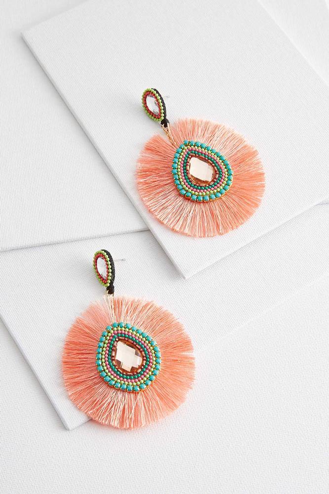 Orange Tassel Statement Earrings