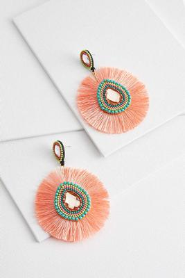 orange tassel statement earrings