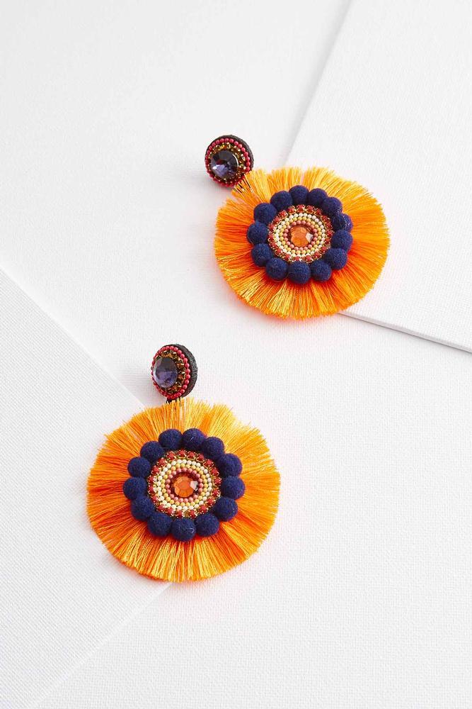 Pom- Pom Fringe Statement Earrings