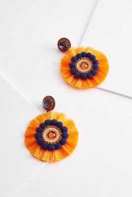 pom-pom fringe statement earrings