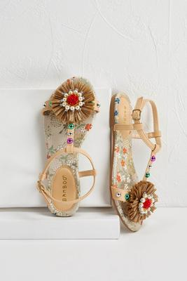 colorful raffia flower sandals