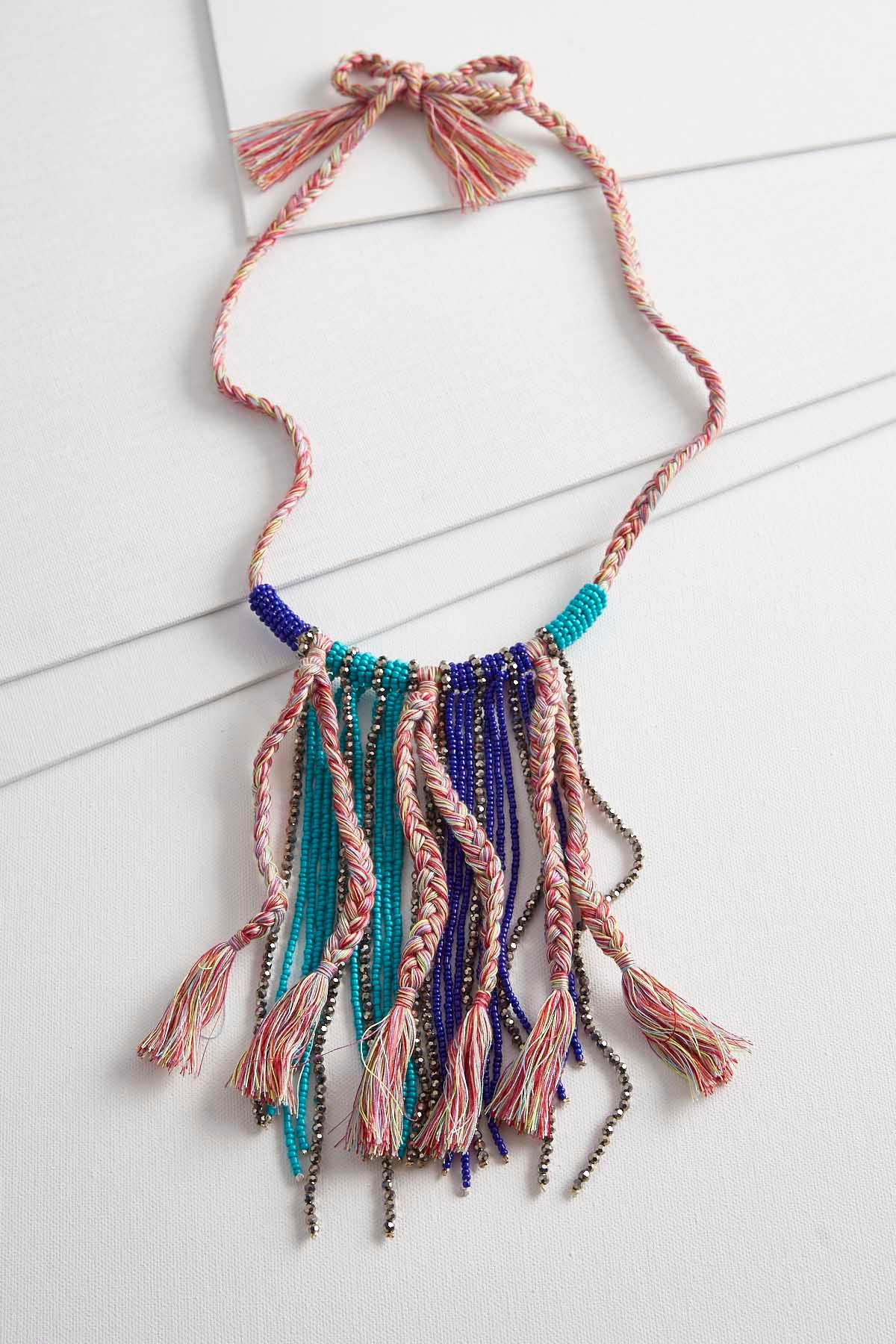 Braids And Beads Tasseled Necklace
