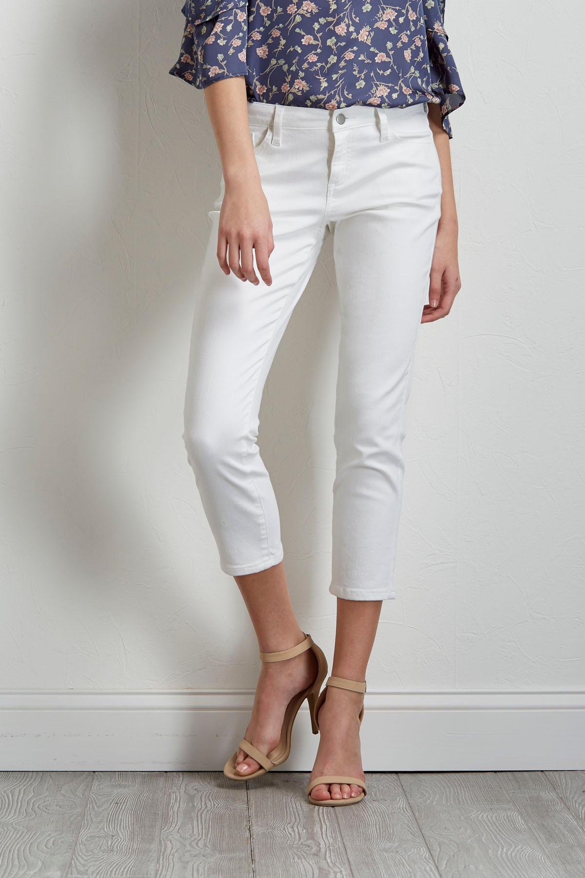 Cropped White Skimmer Pants
