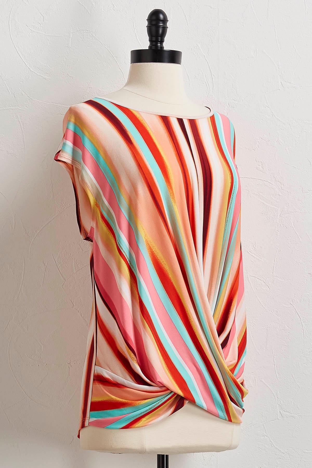 Multi Stripe Twisted Hem Top