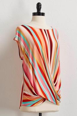 multi stripe twisted hem top