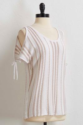 neutral stripe bare shoulder sweater
