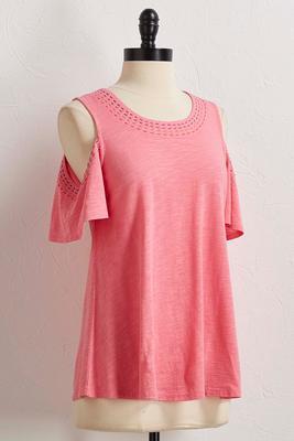 contrast stitch bare shoulder top