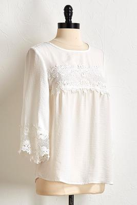 bell sleeve crochet trim top s