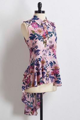 lavender floral high-low tunic