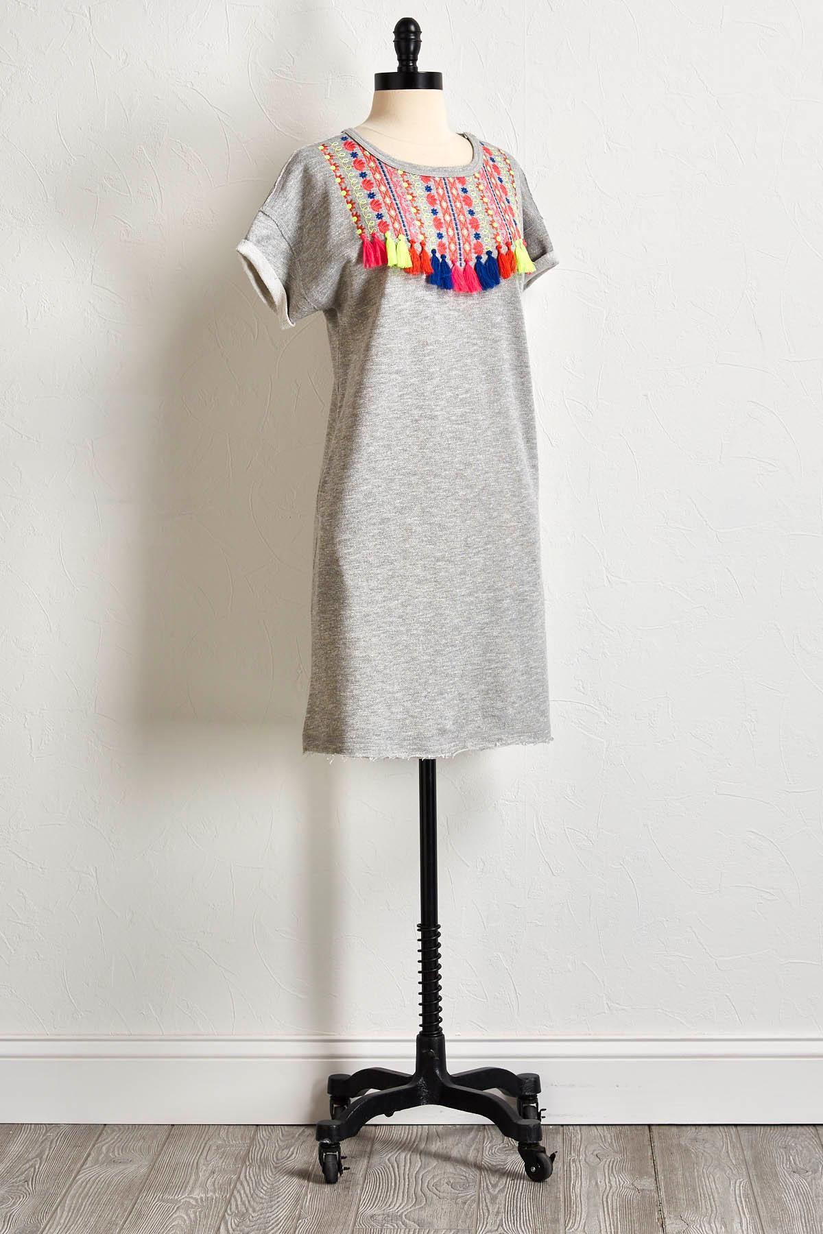 Neon Embellished Sweatshirt Dress