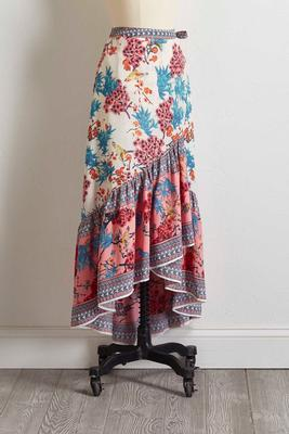 bird floral faux wrap skirt