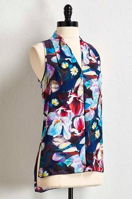floral inverted pleat tank
