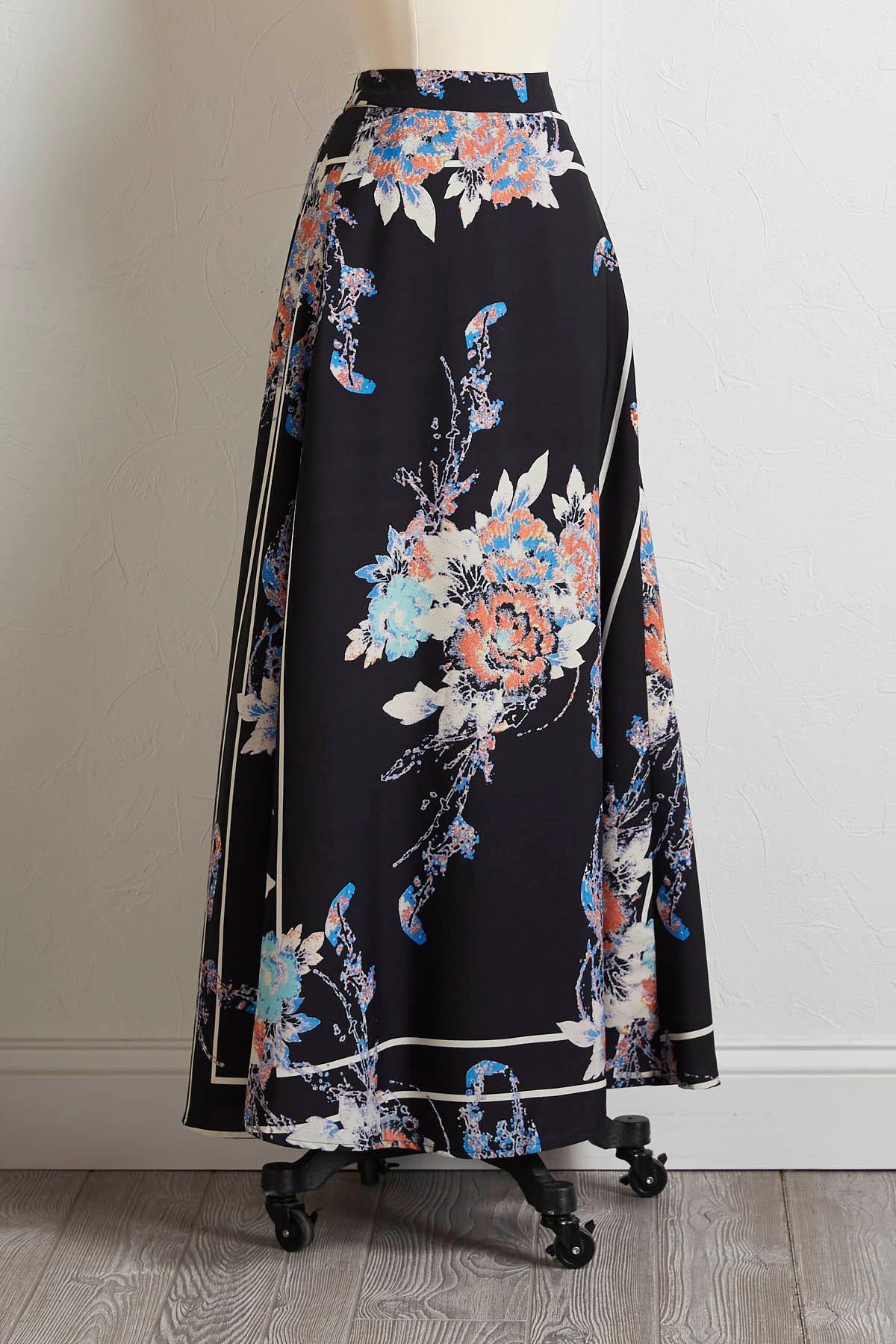 Stripe Floral Maxi Skirt