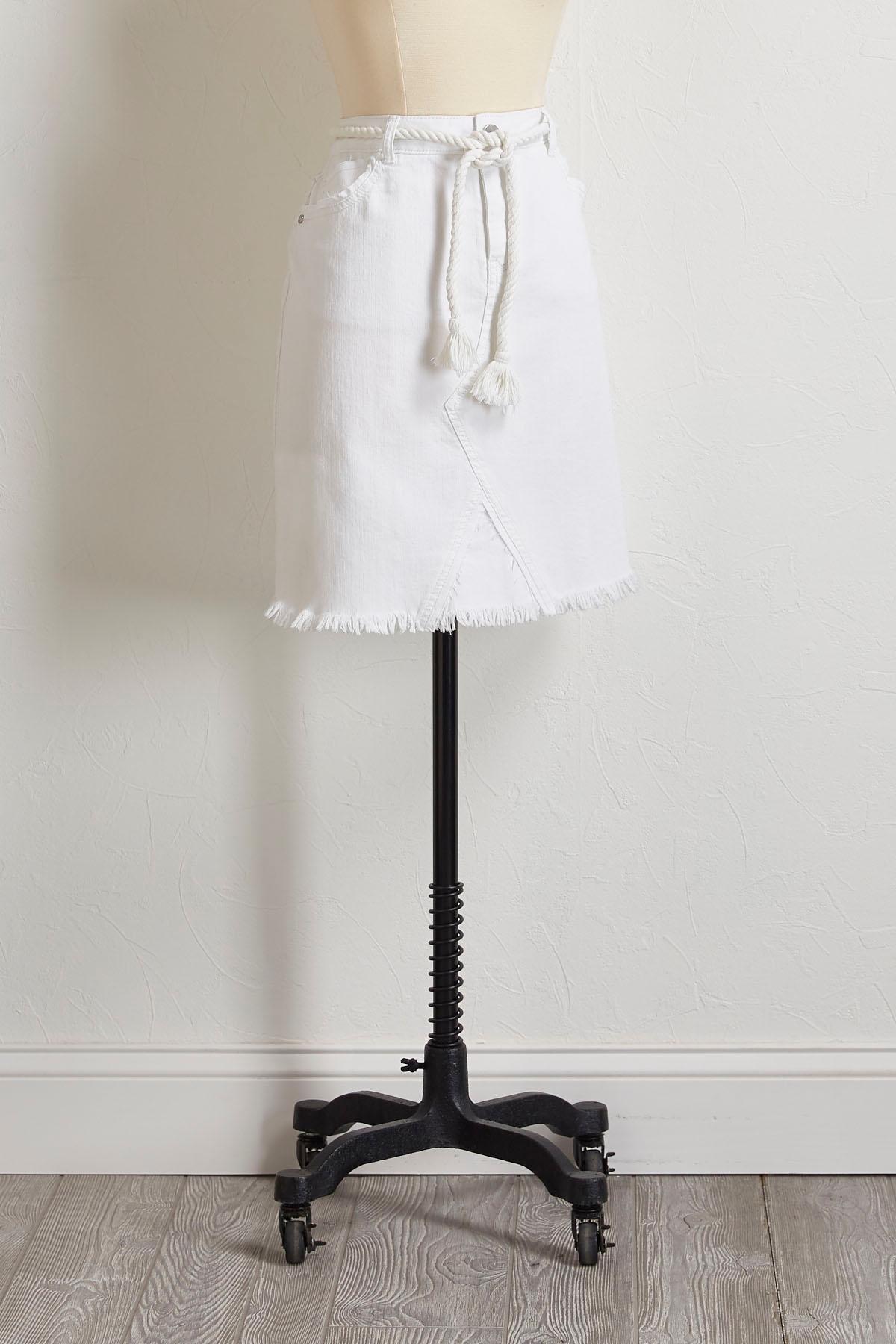 Frayed White Denim Skirt