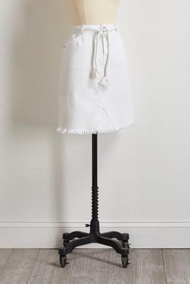 frayed white denim skirt