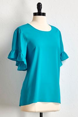 ocean blue ruffled sleeve top