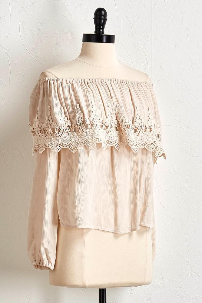 Off The Shoulder Crochet Trim Top