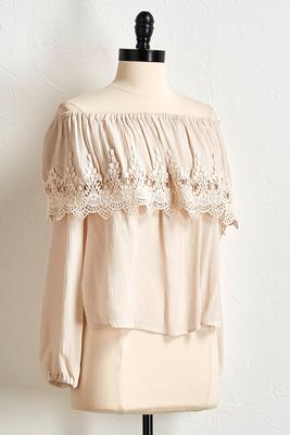 off the shoulder crochet trim top s