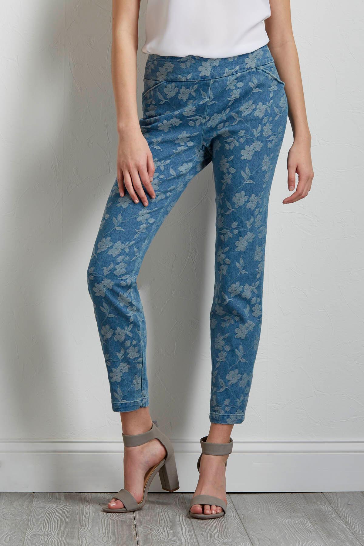 Tonal Floral Ankle Pants