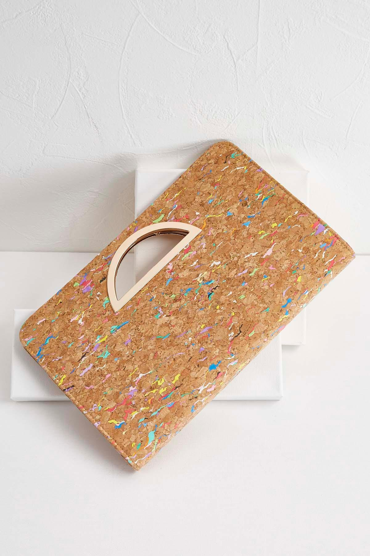 Multi- Colored Cork Porthole Clutch