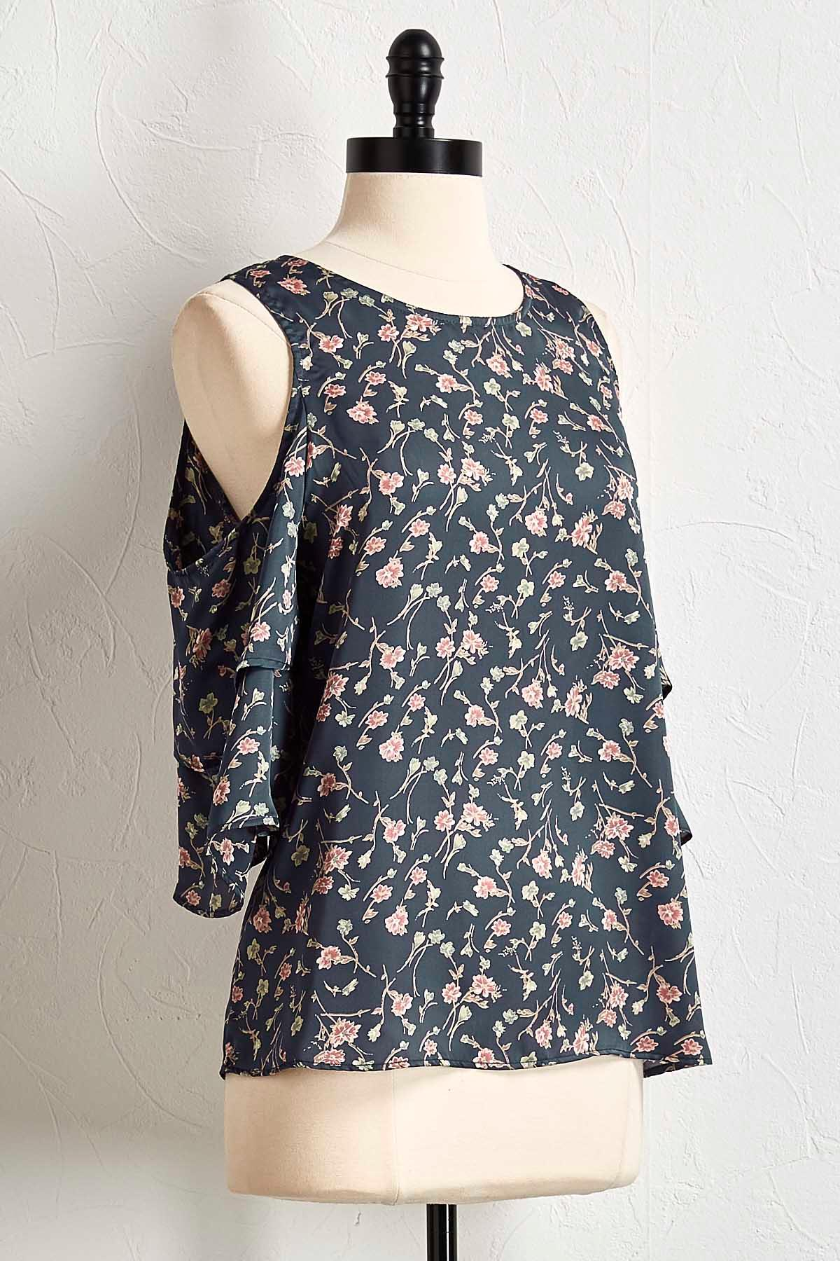 Floral Tiered Bare Shoulder Top