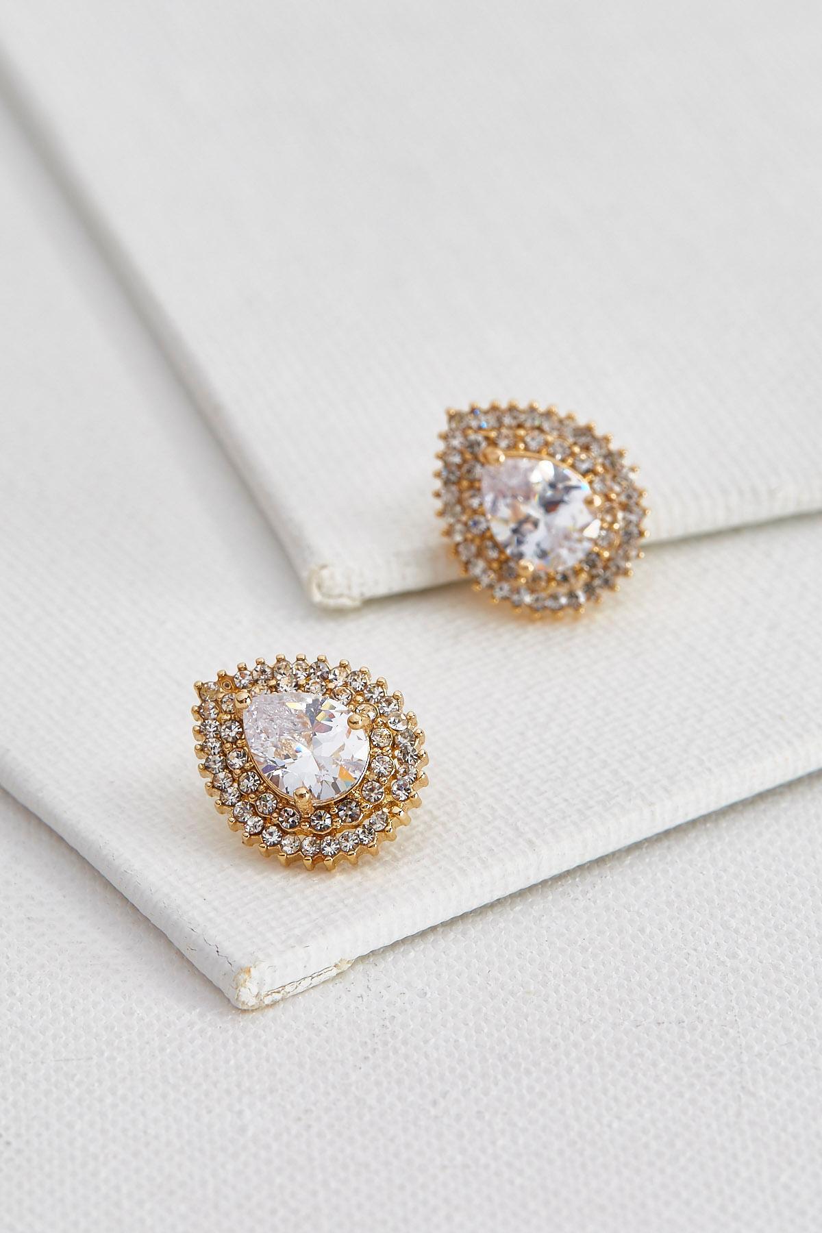 Double Halo Stone Stud Earrings