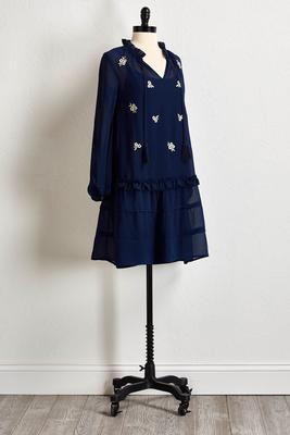 navy gauze embroidered dress
