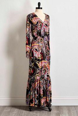 retro paisley maxi dress