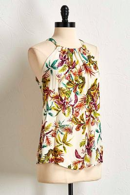 tropical gauze halter top