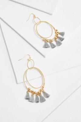 orbital diamond cut tassel earrings