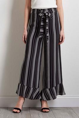 flounced stripe palazzo pants