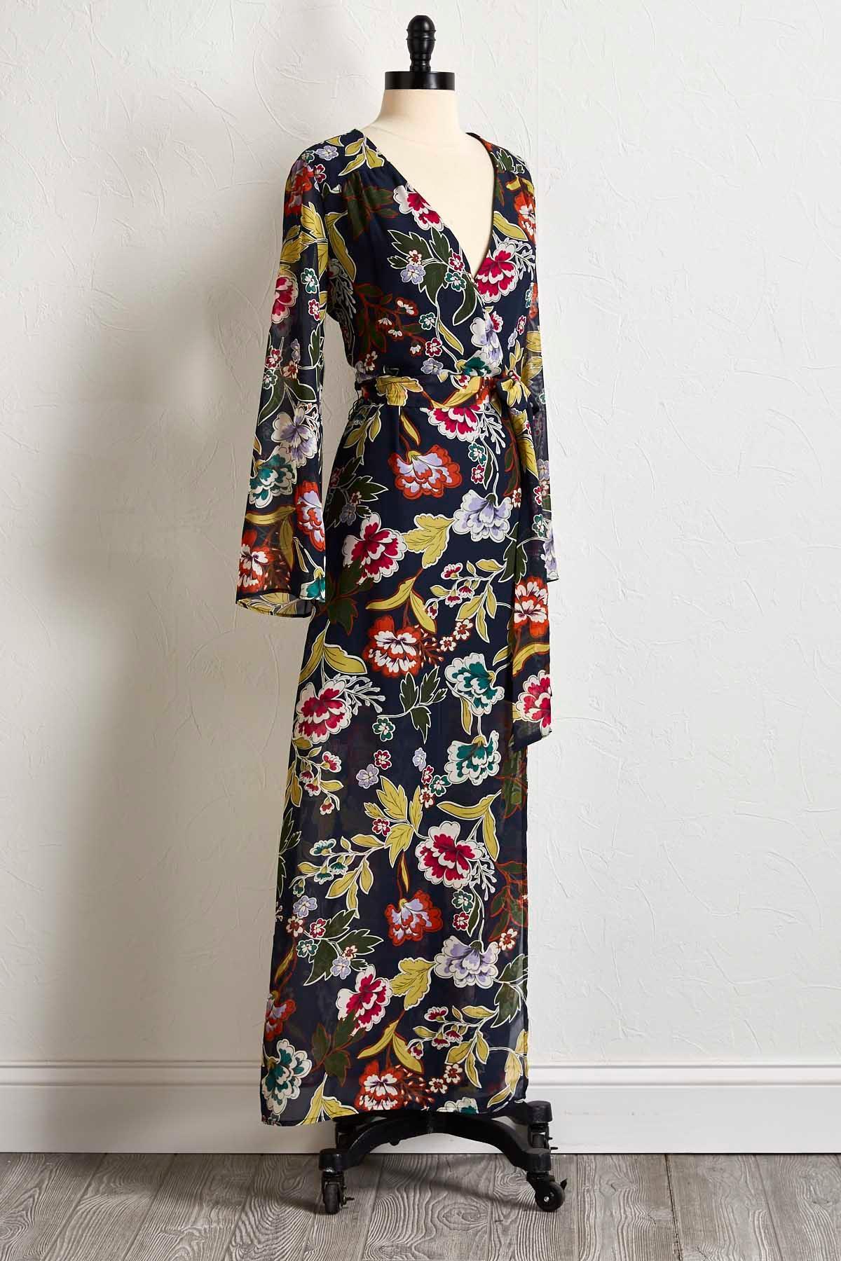 Floral Faux Wrap Maxi Dress