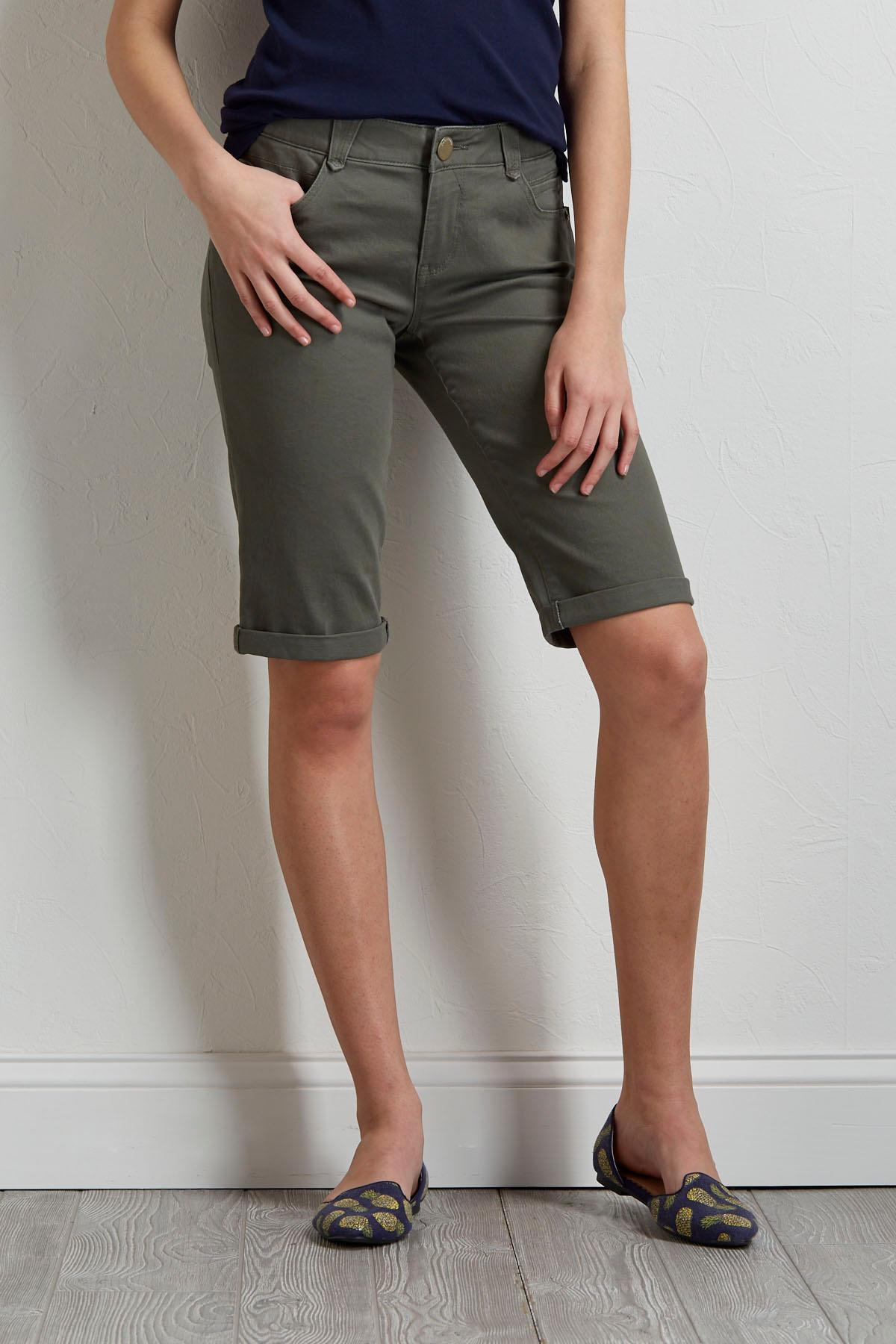 Olive Bermuda Shorts