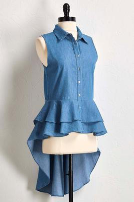 denim high-low tunic