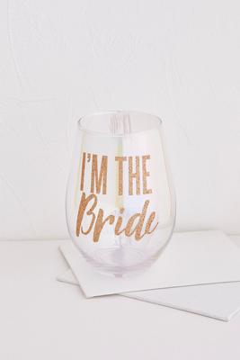 jumbo i`m the bride wine glass