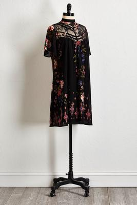delicate lace floral shift dress