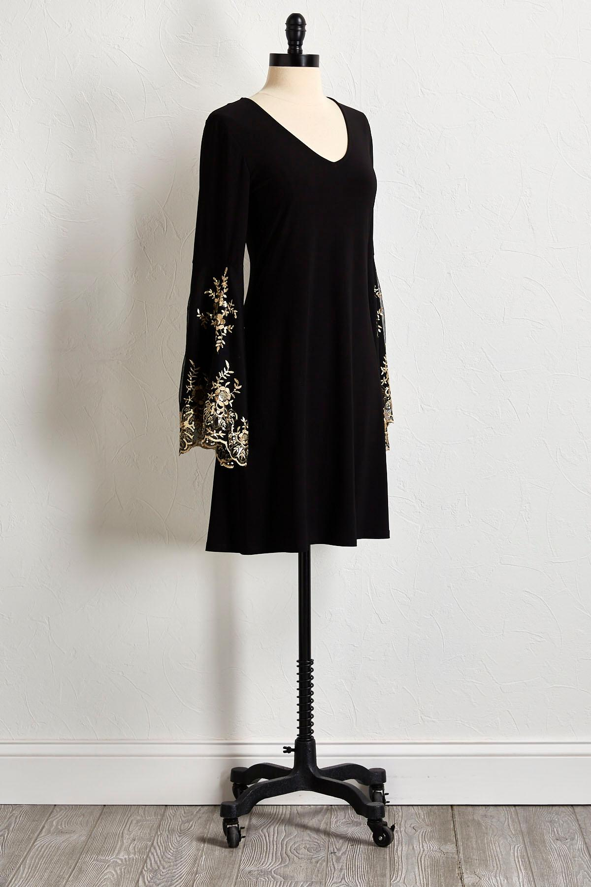 Gilded Embellished Shift Dress